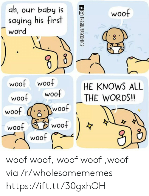 the words: ah, our baby is  woof  saying his first  word  woof woof  woof  HE KNOWS ALL  woof  THE WORDS!!  woof  woof  woof  woof  woof  ffOTHESQUARECOMICS woof woof, woof woof ,woof via /r/wholesomememes https://ift.tt/30gxhOH