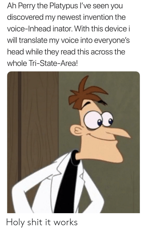 the voice: Ah Perry the Platypus l've seen you  discovered my newest invention the  voice-Inhead inator. With this device i  will translate my voice into everyone's  head while they read this across the  whole Tri-State-Area! Holy shit it works
