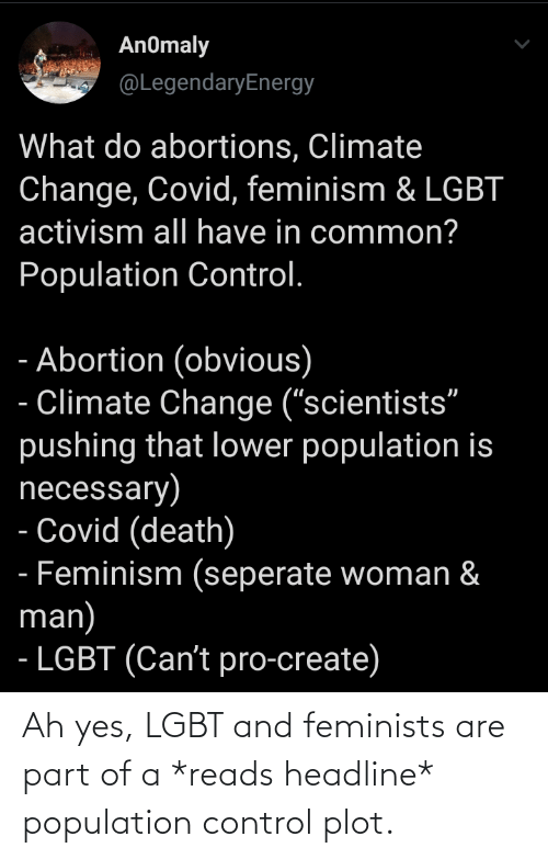 Feminists: Ah yes, LGBT and feminists are part of a *reads headline* population control plot.