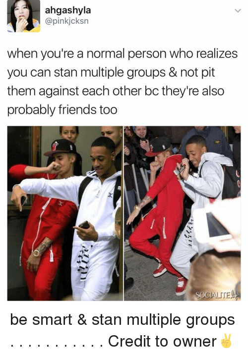 Memes, Stan, and 🤖: ahgashyla  Capin kjcksn  when you're a normal person who realizes  you can stan multiple groups & not pit  them against each other bc they're also  probably friends too  OC be smart & stan multiple groups . . . . . . . . . . . Credit to owner✌