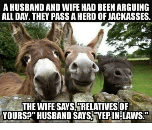 """Relatable: AHUSBAND AND WIFE HAD BEEN ARGUING  ALL DAY. THEY PASSAHERD OF JACKASSES.  THE WIFE SAYS RELATIVES OF  YOURS?"""" HUSBAND SAYS TYEPIN-LAWS"""
