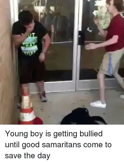 save-the-day: ai: Young boy is getting bullied until good samaritans come to save the day