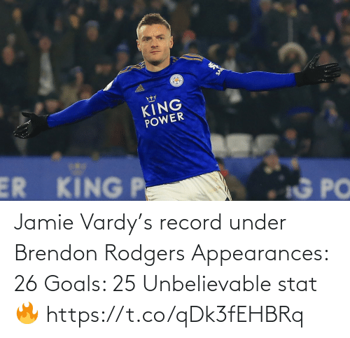 vardy: aidicas  KING  POWER  ER KING P  G PO Jamie Vardy's record under Brendon Rodgers   Appearances: 26 Goals: 25  Unbelievable stat 🔥 https://t.co/qDk3fEHBRq