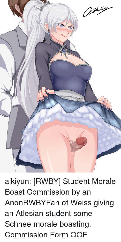 RWBY: aikiyun: [RWBY] Student Morale Boast Commission by an AnonRWBYFan of Weiss giving an Atlesian student some Schnee morale boasting. Commission Form  OOF
