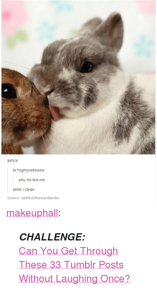 """Tumblr, Blog, and Http: aimce  bringmoreknives  why he lick me  shhh i clean  Source: rabbitskittens andlambs <p><a href=""""http://makeuphall.net/post/114078488189/challenge-can-you-get-through-these-33-tumblr"""" class=""""tumblr_blog"""">makeuphall</a>:</p><blockquote><p><i><b>CHALLENGE:</b> </i><a href=""""http://goo.gl/uUz9Cx""""><br/>Can You Get Through These 33 Tumblr Posts Without Laughing Once?</a></p></blockquote>"""