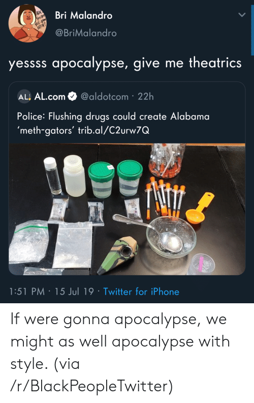 yee: AIN  Bri Malandro  YEE-HAW  BICH?  @BriMalandro  yessss apocalypse, give me theatrics  ALL AL.com  @aldotcom 22h  Police: Flushing drugs could create Alabama  'meth-gators' trib.al/C2urw7Q  1:51 PM 15 Jul 19 Twitter for iPhone  ST If were gonna apocalypse, we might as well apocalypse with style. (via /r/BlackPeopleTwitter)