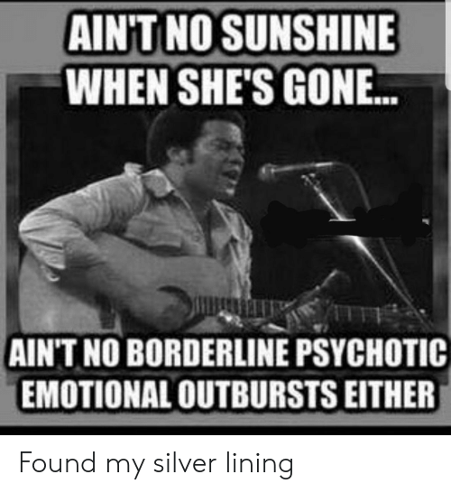psychotic: AINT NO SUNSHINE  WHEN SHE'S GON..  AIN'T NO BORDERLINE PSYCHOTIC  EMOTIONAL OUTBURSTS EITHER Found my silver lining