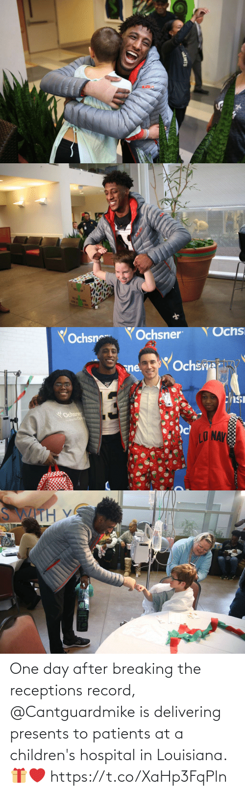Hospital: AINTS   TRIS! 1P  FRLE CA T  LENE LA   Yochsn  YOchsner  Ochs  Ochsre  sne.  chsi  YOchsner  Hospai For Childwan  LO NAV   SWITH V One day after breaking the receptions record, @Cantguardmike is delivering presents to patients at a children's hospital in Louisiana. 🎁❤️ https://t.co/XaHp3FqPln