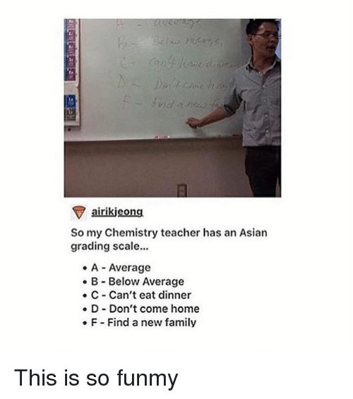 Girl Memes: airikieong  So my Chemistry teacher has an Asian  grading scale...  A Average  B Below Average  C Can't eat dinner  D Don't come home  F Find a new family This is so funmy