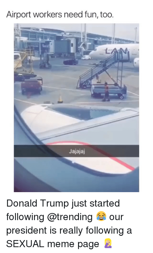 Donald Trump, Meme, and Memes: Airport workers need fun, too  Jajajaj Donald Trump just started following @trending 😂 our president is really following a SEXUAL meme page 🤦🏼