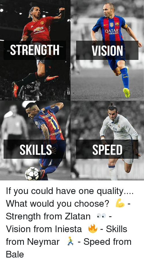 Memes, Neymar, and Vision: AIRWAYS  STRENGTH  VISION  BARO  Fly  unicel  SPEED  SKILLS If you could have one quality.... What would you choose?⠀ 💪 - Strength from Zlatan⠀ 👀 - Vision from Iniesta⠀ 🔥 - Skills from Neymar⠀ 🏃 - Speed from Bale