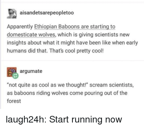 "Ethiopian: aisandetsarepeopletoo  Apparently Ethiopian Baboons are starting to  domesticate wolves, which is giving scientists new  insights about what it might have been like when early  humans did that. That's cool pretty cool!  argumate  t quite as cool as we thought!"" scream scientist  as baboons riding wolves come pouring out of the  forest laugh24h:  Start running now"