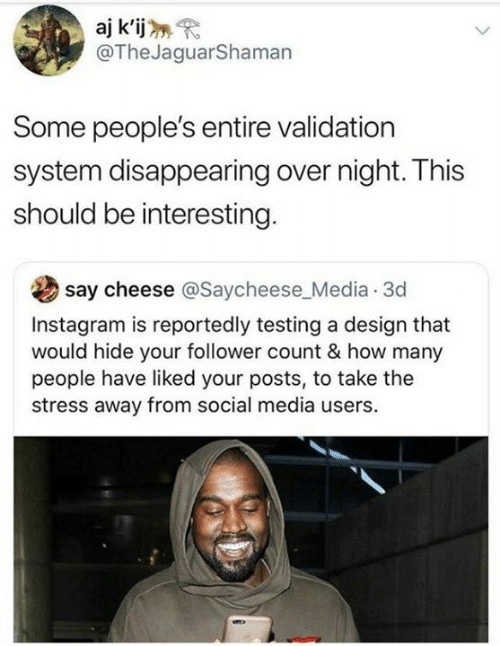 follower: aj k'ij  @TheJaguarShaman  Some people's entire validation  system disappearing over night. This  should be interesting  say cheese @Saycheese_Media 3d  Instagram is reportedly testing a design that  would hide your follower count & how many  people have liked your posts, to take the  stress away from social media users.