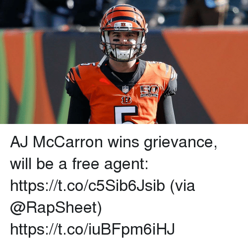 Memes, Free, and 🤖: AJ McCarron wins grievance, will be a free agent: https://t.co/c5Sib6Jsib (via @RapSheet) https://t.co/iuBFpm6iHJ