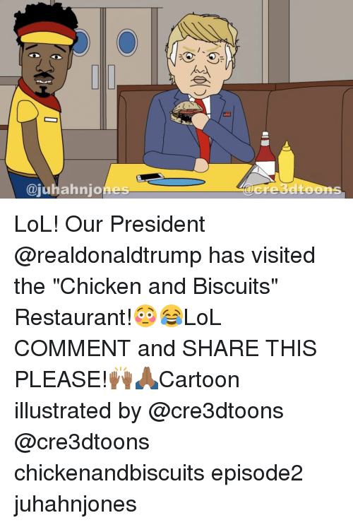 """illustrate: ajubahnjo  Cre3dtoons LoL! Our President @realdonaldtrump has visited the """"Chicken and Biscuits"""" Restaurant!😳😂LoL COMMENT and SHARE THIS PLEASE!🙌🏾🙏🏾Cartoon illustrated by @cre3dtoons @cre3dtoons chickenandbiscuits episode2 juhahnjones"""