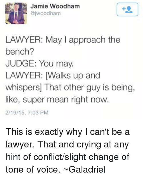 Crying, Lawyer, and Memes: ajwood Woodham  Jamie LAWYER: May I approach the  bench?  JUDGE: You may.  LAWYER: Walks up and  whispers That other guy is being,  like, super mean right now.  2/19/15, 7:03 PM This is exactly why I can't be a lawyer. That and crying at any hint of conflict/slight change of tone of voice. ~Galadriel