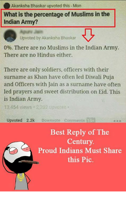 Memes, Muslim, and Soldiers: Akanksha Bhaskar upvoted this .Mon  What is the percentage of Muslims in the  Indian Army?  Up voted by Akanksha Bhaskar  0%. There are no Muslims in the Indian Army.  There are no Hindus either.  There are only soldiers, officers with their  surname as Khan have often led Diwali Puja  and Officers with Jain as a surname have often  led prayers and sweet distribution on Eid. This  is Indian Army.  13,454 views 2202 opvoies  upvoted 2.2k  Downvote comments  Best Reply of The  Century.  Proud Indians Must Share  this Pic.
