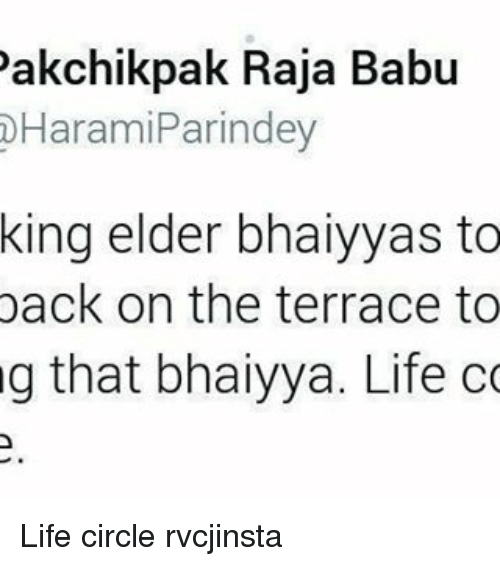 Babues: akchikpak Raja Babu  Harami Parindey  king elder bhaiyyas to  back on the terrace to  g that bhaiyya. Life  co Life circle rvcjinsta