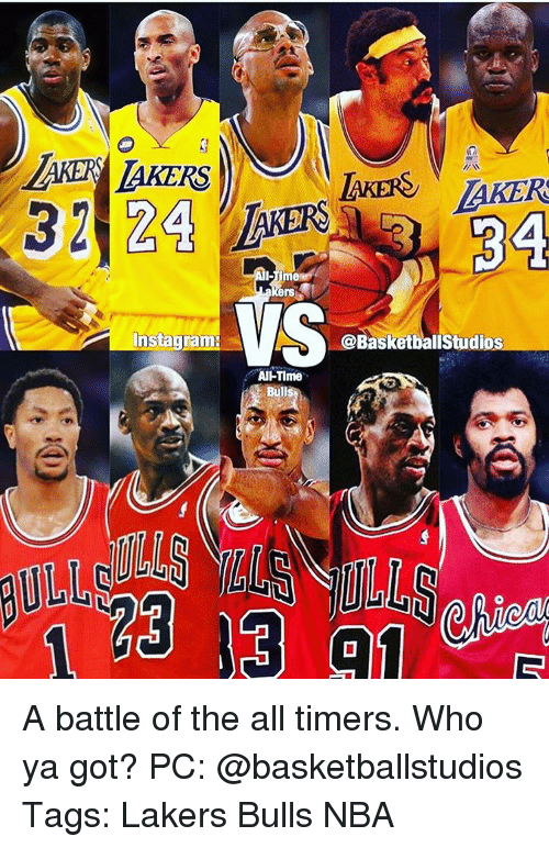 Memes, Bulls, and The All: AKERS  AKERS AKERS  32 24  LAKERS  BA  ers  Instagram: VS  @BasketballStudios  AIHTime  Bulls A battle of the all timers. Who ya got? PC: @basketballstudios Tags: Lakers Bulls NBA