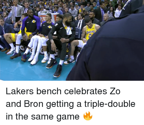 a triple double: AKERS  ER Lakers bench celebrates Zo and Bron getting a triple-double in the same game 🔥