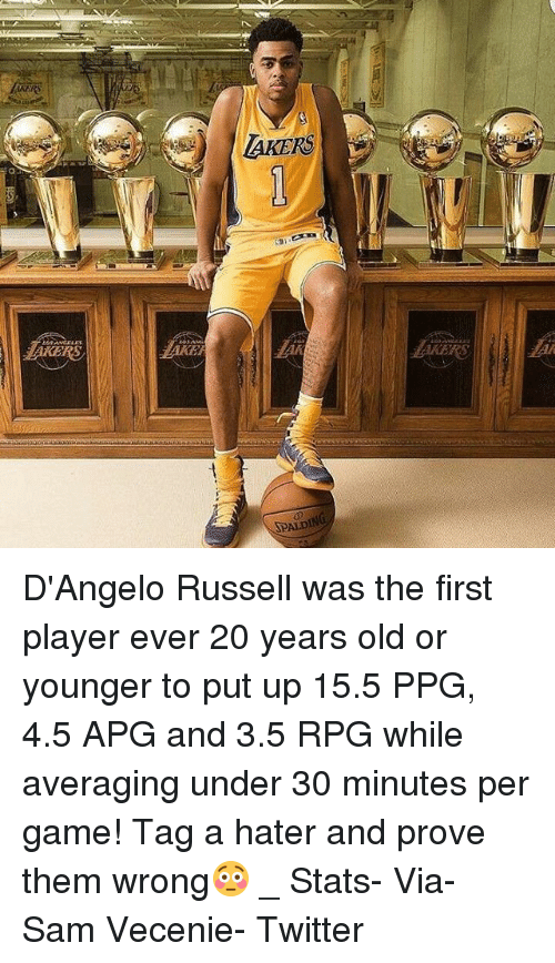 Los Angeles Lakers, Memes, and Twitter: |AKERS  z  LAKERS  a  SPALDIf D'Angelo Russell was the first player ever 20 years old or younger to put up 15.5 PPG, 4.5 APG and 3.5 RPG while averaging under 30 minutes per game! Tag a hater and prove them wrong😳 _ Stats- Via- Sam Vecenie- Twitter