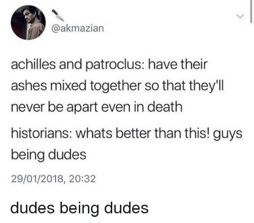 achilles: @akmazian  achilles and patroclus: have their  ashes mixed together so that they'll  never be apart even in death  historians: whats better than this! guys  being dudes  29/01/2018, 20:32 dudes being dudes