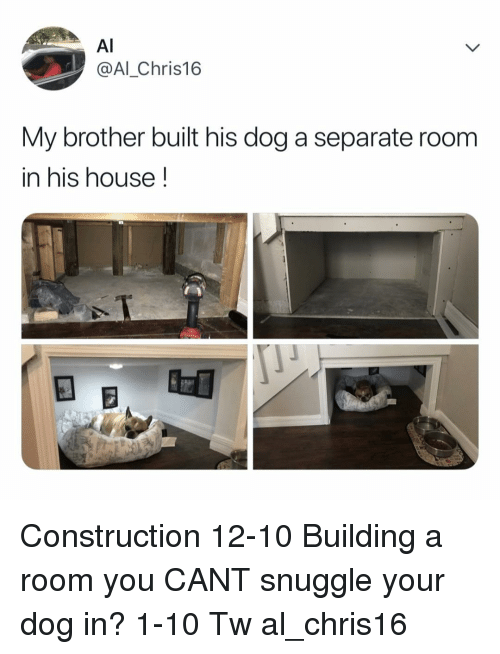 Memes, House, and Construction: Al  @Al_Chris16  My brother built his dog a separate room  in his house! Construction 12-10 Building a room you CANT snuggle your dog in? 1-10 Tw al_chris16