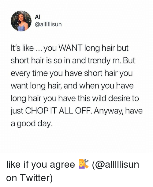Memes, Twitter, and Good: Al  @alllIlisun  It's like ...you WANT long hair but  short hair is so in and trendy rn. But  every time you have short hair you  want long hair, and when you have  long hair you have this wild desire to  just CHOP IT ALL OFF. Anyway, have  a good day like if you agree 💇♀️ (@alllllisun on Twitter)