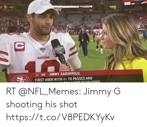 49er: AL HL  75  C  GEOAY  FOTEALE  49ERS  40  10 QB  JIMMY GAROPPOLO  FIRST 49ER WITH 4+TD PASSES AND  DR CINICE 10/15/2000 RT @NFL_Memes: Jimmy G shooting his shot https://t.co/V8PEDKYyKv