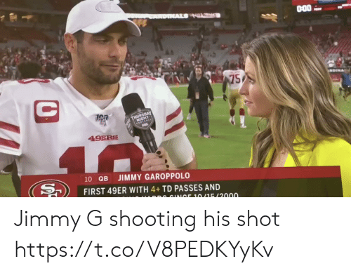 jimmy: AL HL  75  C  GEOAY  FOTEALE  49ERS  40  10 QB  JIMMY GAROPPOLO  FIRST 49ER WITH 4+TD PASSES AND  DR CINICE 10/15/2000 Jimmy G shooting his shot https://t.co/V8PEDKYyKv