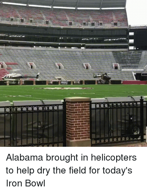 iron bowl: Alabama brought in helicopters to help dry the field for today's Iron Bowl