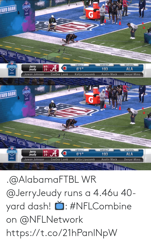 yard: .@AlabamaFTBL WR @JerryJeudy runs a 4.46u 40-yard dash!   📺: #NFLCombine on @NFLNetwork https://t.co/21hPanlNpW