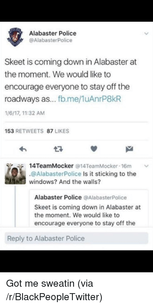 skeet: Alabaster Police  @AlabasterPolice  Skeet is coming down in Alabaster at  the moment. We would like to  encourage everyone to stay off the  roadways as... fb.me/1uAnrP8kR  1/6/17, 11:32 AM  153 RETWEETS 87 LIKES  14TeamMocker @14TeamMocker-16m  ﹀  @AlabasterPolice Is it sticking to the  windows? And the walls?  Alabaster Police @AlabasterPolice  Skeet is coming down in Alabaster at  the moment. We would like to  encourage everyone to stay off the  Reply to Alabaster Police <p>Got me sweatin (via /r/BlackPeopleTwitter)</p>