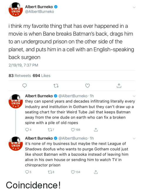 Bane: Albert Burneko<  @AlbertBurneko  UNION  i think my favorite thing that has ever happened in a  movie is when Bane breaks Batman's back, drags him  to an underground prison on the other side of the  planet, and puts him in a cell with an English-speaking  back surgeon  2/19/19, 7:37 PM  83 Retweets 694 Likes  Albert Burneko @AlbertBurneko 1h  they can spend years and decades infiltrating literally every  industry and institution in Gotham but they can't draw up a  seating chart for their Weird Tube Jail that keeps Batman  away from the one dude on earth who can fix a broken  spine with a pile of old ropes  UNION  7  O 198  4  Albert Burneko @AlbertBurneko 1h  it's none of my business but maybe the next League of  Shadows doofus who wants to purge Gotham could just  like shoot Batman with a bazooka instead of leaving him  alive in his own house or sending him to watch TV in  chiropractor prison  UNION  8  O 134 Coincidence!