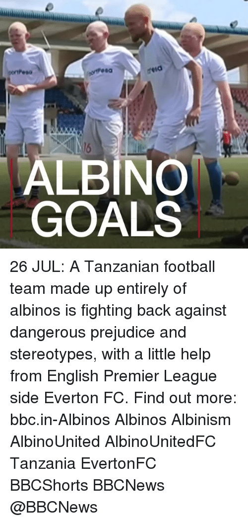 everton fc: ALBINO  GOALS 26 JUL: A Tanzanian football team made up entirely of albinos is fighting back against dangerous prejudice and stereotypes, with a little help from English Premier League side Everton FC. Find out more: bbc.in-Albinos Albinos Albinism AlbinoUnited AlbinoUnitedFC Tanzania EvertonFC BBCShorts BBCNews @BBCNews