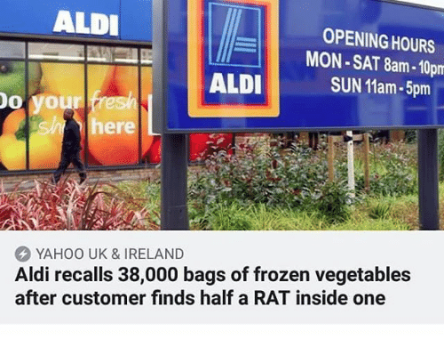 Frozen, Memes, and Aldi: ALDI  OPENING HOURS  MON-SAT 8am-10pm  SUN 11am-5pm  ALDI  o you  she here  YAHOO UK & IRELAND  Aldi recalls 38,000 bags of frozen vegetables  after customer finds half a RAT inside one