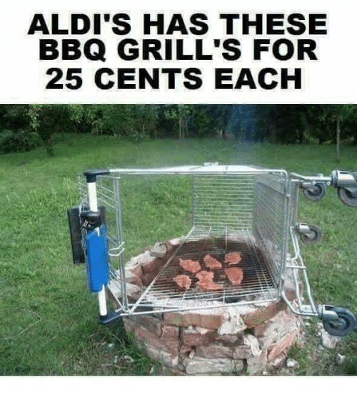 Memes, 🤖, and For: ALDI'S HAS THESE  BBQ GRILL'S FOR  25 CENTS EACH