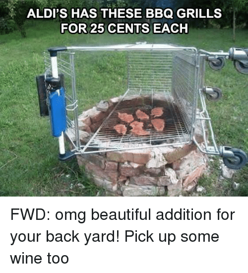 Wine, Aldi, and 25 Cent: ALDI'S HAS THESE BBQ GRILLS  FOR 25 CENTS EACH FWD: omg beautiful addition for your back yard! Pick up some wine too