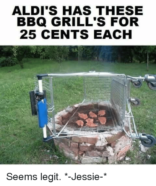 Memes, Aldi, and 25 Cent: ALDI'S HAS THESE  BBQ GRILL'S FOR  25 CENTS EACH Seems legit. *-Jessie-*