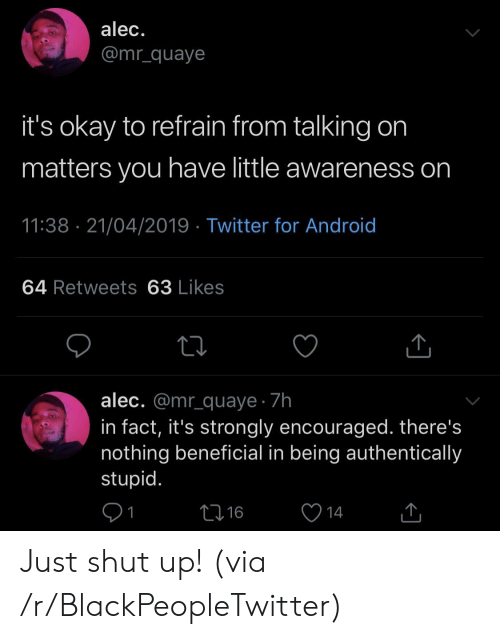Just Shut: alec.  @mr_quaye  it's okay to refrain from talking on  matters you have little awareness on  11:38 21/04/2019 Twitter for Android  64 Retweets 63 Likes  alec. @mr_quaye 7h  in fact, it's strongly encouraged. there's  nothing beneficial in being authentically  stupid.  L16  14 Just shut up! (via /r/BlackPeopleTwitter)