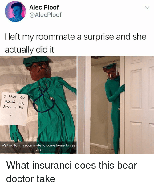 Doctor, Memes, and Roommate: Alec Ploof  @AlecPloof  I left my roommate a surprise and she  actually did it  hink you  Would loolk  Nice in hs  Waiting for my roommate to come home to see  this What insuranci does this bear doctor take