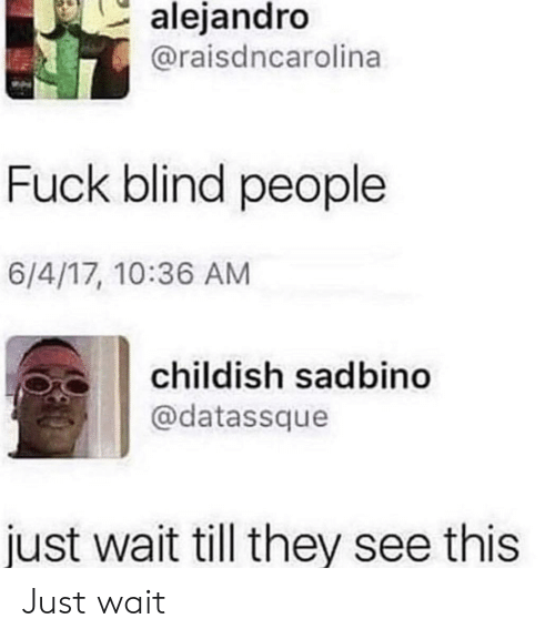 Childish: alejandro  @raisdncarolina  Fuck blind people  6/4/17, 10:36 AM  childish sadbino  @datassque  just wait till they see this Just wait