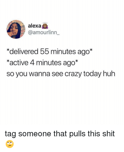 4 minutes: alex  @amourlinn_  *delivered 55 minutes ago*  *active 4 minutes ago*  so you wanna see crazy today huh tag someone that pulls this shit 🙄