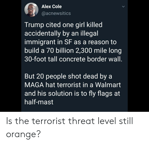 Walmart, Girl, and Orange: Alex Cole  @acnewsitics  Trump cited one girl killed  accidentally by an illegal  immigrant in SF as a reason to  build a 70 billion 2,300 mile long|  30-foot tall concrete border wall.  But 20 people shot dead by a  MAGA hat terrorist in a Walmart  and his solution is to fly flags at  half-mast Is the terrorist threat level still orange?