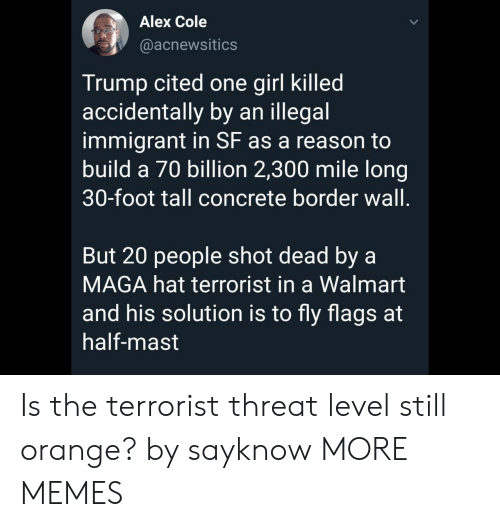 terrorist: Alex Cole  @acnewsitics  Trump cited one girl killed  accidentally by an illegal  immigrant in SF as a reason to  build a 70 billion 2,300 mile long  30-foot tall concrete border wall.  But 20 people shot dead by a  MAGA hat terrorist in a Walmart  and his solution is to fly flags at  half-mast Is the terrorist threat level still orange? by sayknow MORE MEMES