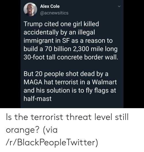 Immigrant: Alex Cole  @acnewsitics  Trump cited one girl killed  accidentally by an illegal  immigrant in SF as a reason to  build a 70 billion 2,300 mile long  30-foot tall concrete border wall.  But 20 people shot dead by a  MAGA hat terrorist in a Walmart  and his solution is to fly flags at  half-mast Is the terrorist threat level still orange? (via /r/BlackPeopleTwitter)