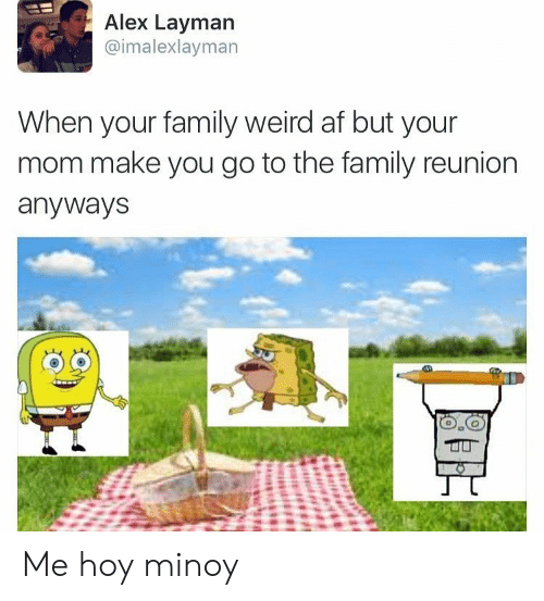 Hoy Minoy: Alex Layman  @imalexlayman  When your family weird af but your  mom make you go to the family reunion  anyways Me hoy minoy