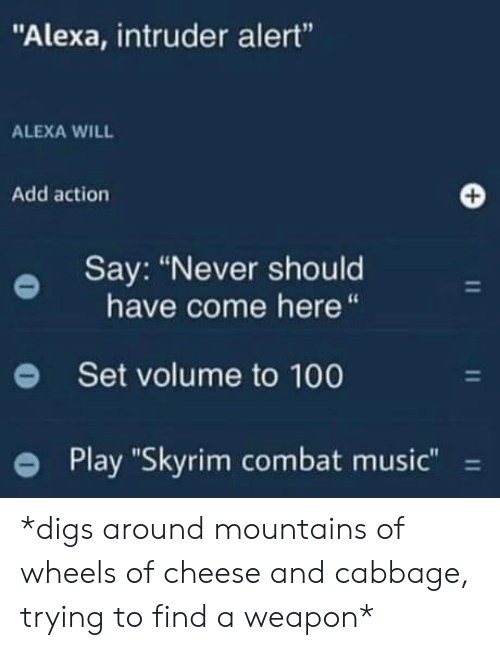 "Combat: ""Alexa, intruder alert""  ALEXA WILL  Add action  Say: ""Never should  have come here  Set volume to 100  Play ""Skyrim combat music""  11  11  11 *digs around mountains of wheels of cheese and cabbage, trying to find a weapon*"