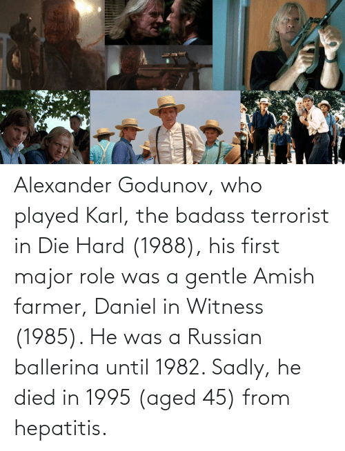 alexander: Alexander Godunov, who played Karl, the badass terrorist in Die Hard (1988), his first major role was a gentle Amish farmer, Daniel in Witness (1985). He was a Russian ballerina until 1982. Sadly, he died in 1995 (aged 45) from hepatitis.
