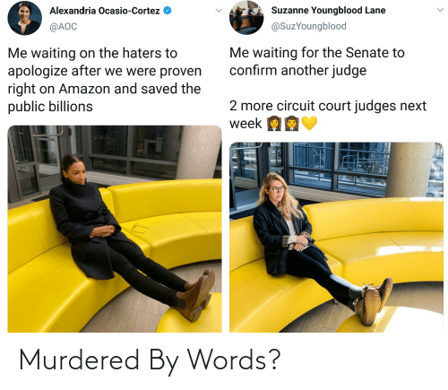 suzanne: Alexandria Ocasio-Cortez  Suzanne Youngblood Lane  @SuzYoungblood  @AOC  Me waiting for the Senate to  confirm another judge  Me waiting on the haters to  apologize after we were proven  right on Amazon and saved the  public billions  2 more circuit court judges next  week OE Murdered By Words?